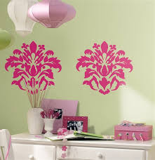 pink damask removable wall decals wall2wall on damask sticker wall art with magnificent damask wall decor stickers image collection wall art