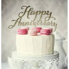 Gold Glitter Happy Anniversary Cake Topper Build A Birthday
