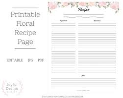 Full Page Recipe Templates Recipe Editable Template Floral Printable Recipe Blank Recipe Template Recipe Organization Recipe Storage Ideas Full Page Recipe Card