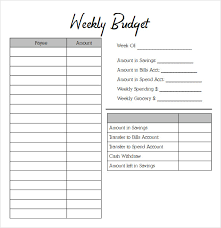 Weekly Budget Forms Weekly Budget Form Under Fontanacountryinn Com