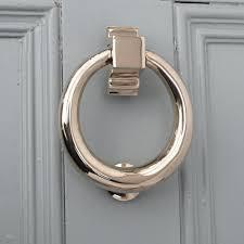 polished nickel hoop door knocker