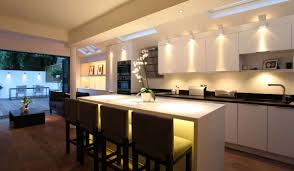 modern kitchen lighting ideas. Kitchen:Creative Lighting Kitchen Decor With White Modern Island And Contemporary Table Added Brown Ideas