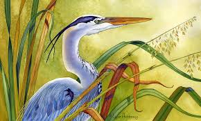 watercolor painting great blue heron by lyse anthony