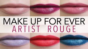 make up for ever artist rouge lipstick swatches you