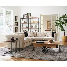 home decorators collection gordon 3 piece natural linen sectional