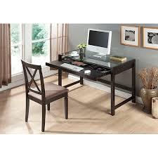 idabel dark brown wood modern desk with glass top free today com 14044204