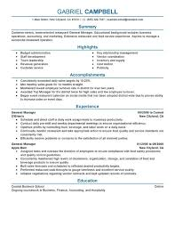 General Resume Simple Restaurant General Manager Resume Examples Free To Try Today