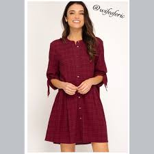 Eric Dress Size Chart Classic Hi Lo Hem Button Down Dress Tunic Boutique