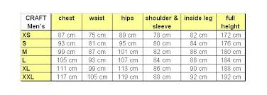Craft Cycling Size Chart Craft Cycling Bib Size Chart Crafting