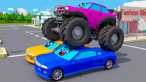 New Monster Truck Vs Racing Cars Monster Trucks Video For Kids