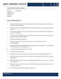 Easy Duties Of A Loan Officer Mortgage Job Description Sample