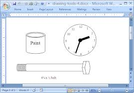 office drawing tools. Microsoft Office Word 2007. Ms Tools Drawing A