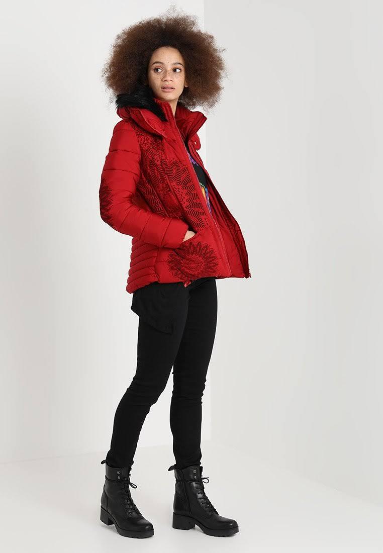 40 Größe Damen Komoderi Gepolsterte Rot Winterjacke Desigual w4RXXq