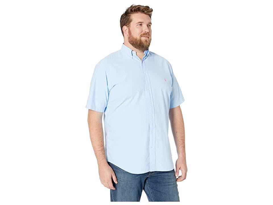Tall Prenda Corta Para Sólido Teñida Oxford Corte Bebé Hombres Deportiva Ralph Azul De Big Lauren Polo Camiseta 5x Manga amp; Clásico IYwxv4a