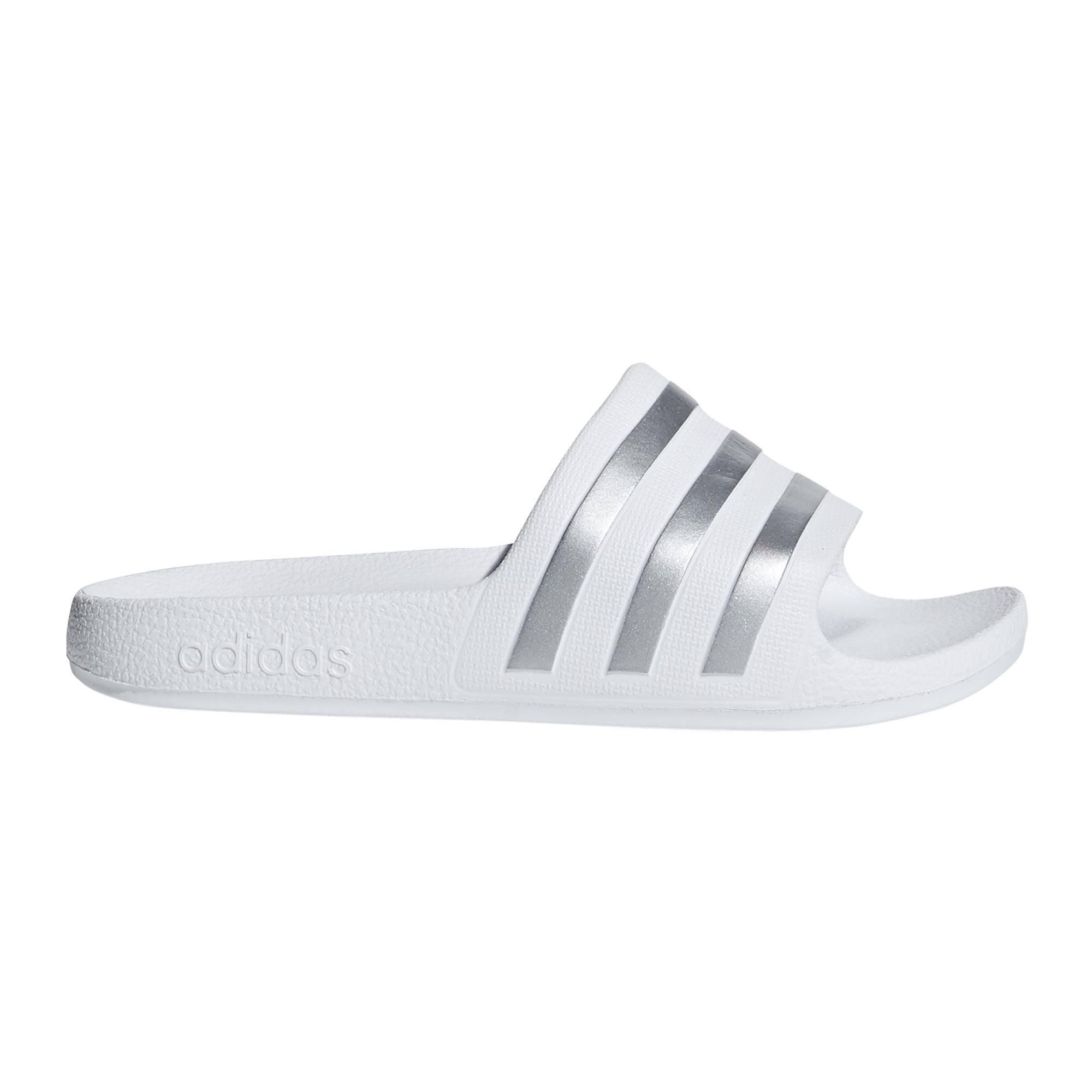 Adidas Kids Adilette Aqua Slides - White/Silver