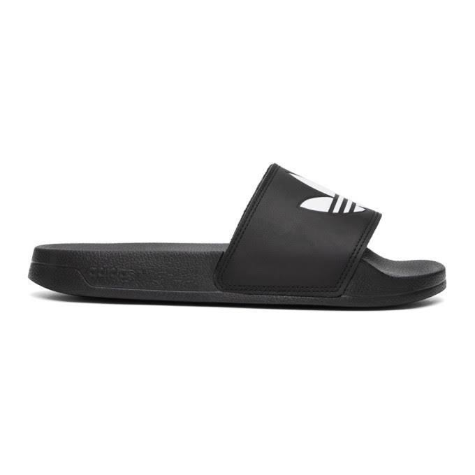 Adidas Originals Black Adilette Lite Pool Slides - Blk/Wht - Size: 44
