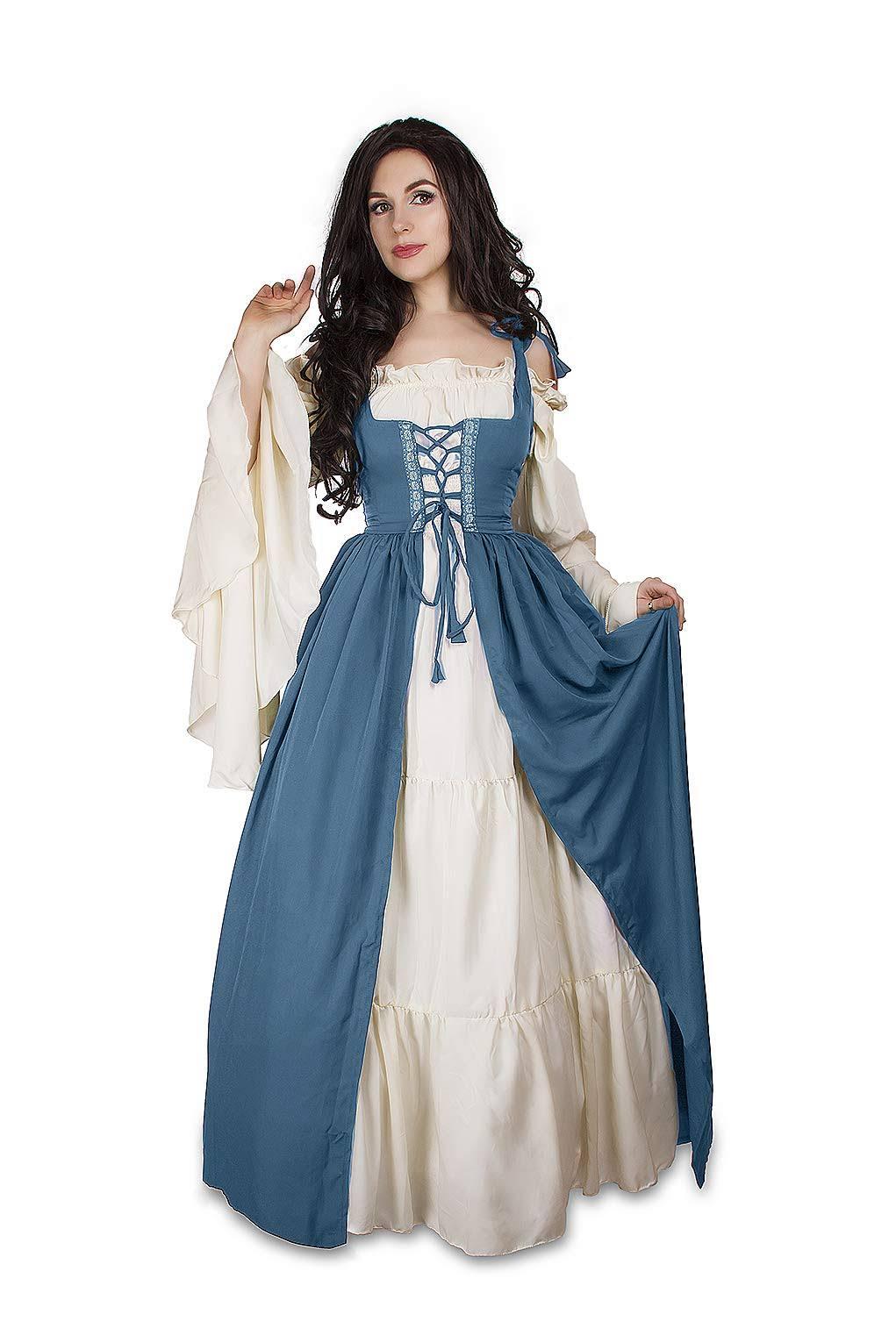 amp; Reminisce Irish Mythic Medieval Blue Costume Cream Over French Dress Set Renaissance Chemise 0q0FwxHr