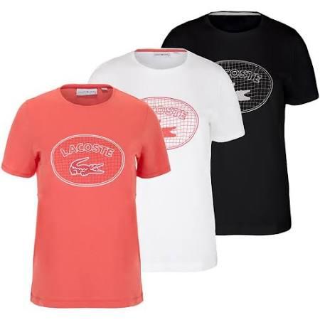 Aufdruck Tf9208 Pink Lacoste Weiß Rot shirt Mit Flüssigem Frauen h18 t XBfw4qR
