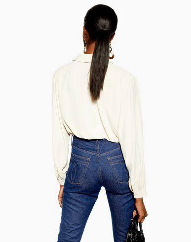 Camisa Smart Poliéster Marfil Mujer Pocket Topshop w1qHT