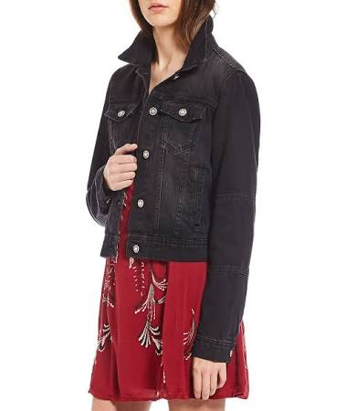 Free People Black Denim Rumors Jacket S rrZBdwq