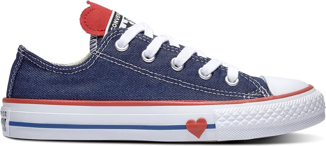 Chuck Converse Kid's Taylor Star Denim Navyenamel Raw All Top Roodblauw Low Rq35AjL4