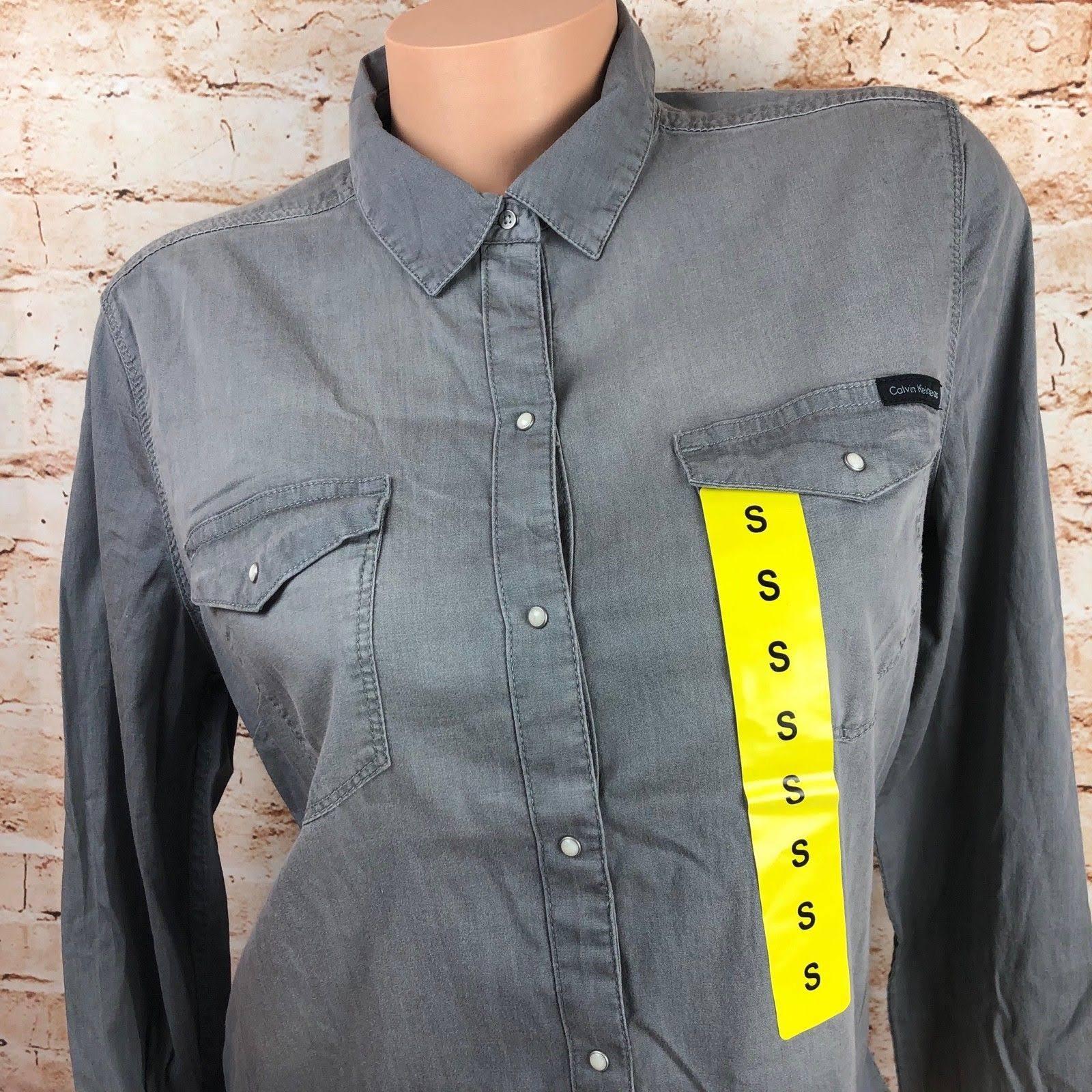Mujer Larga Klein En Con Camisa Aleesa Botones Denim Calvin Manga Jeans De Grey vTUWWAq