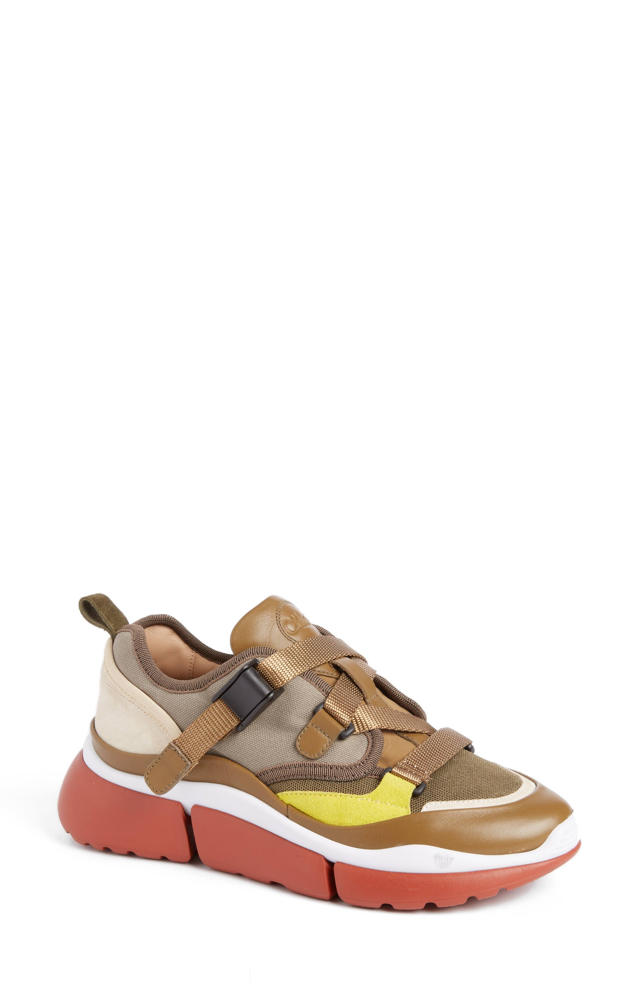 Becerro Nylon Para Khaki Sneaker 4 5 Algodón Poliéster 1 Sooty De top Talla Piel Sonnie Low Chloé 30 Elastano 40 Mujer 25 YHwOqO