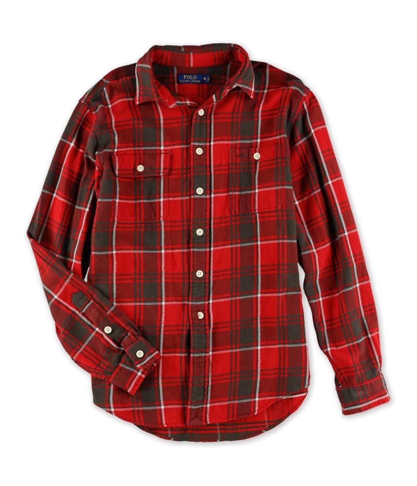 A Parte Franela De Delantera amp; Camisa 125 Nwt En Lauren Cuadros Rojos Con Ralph M Polo S La Regular Botones Tamaño Sq7Xn