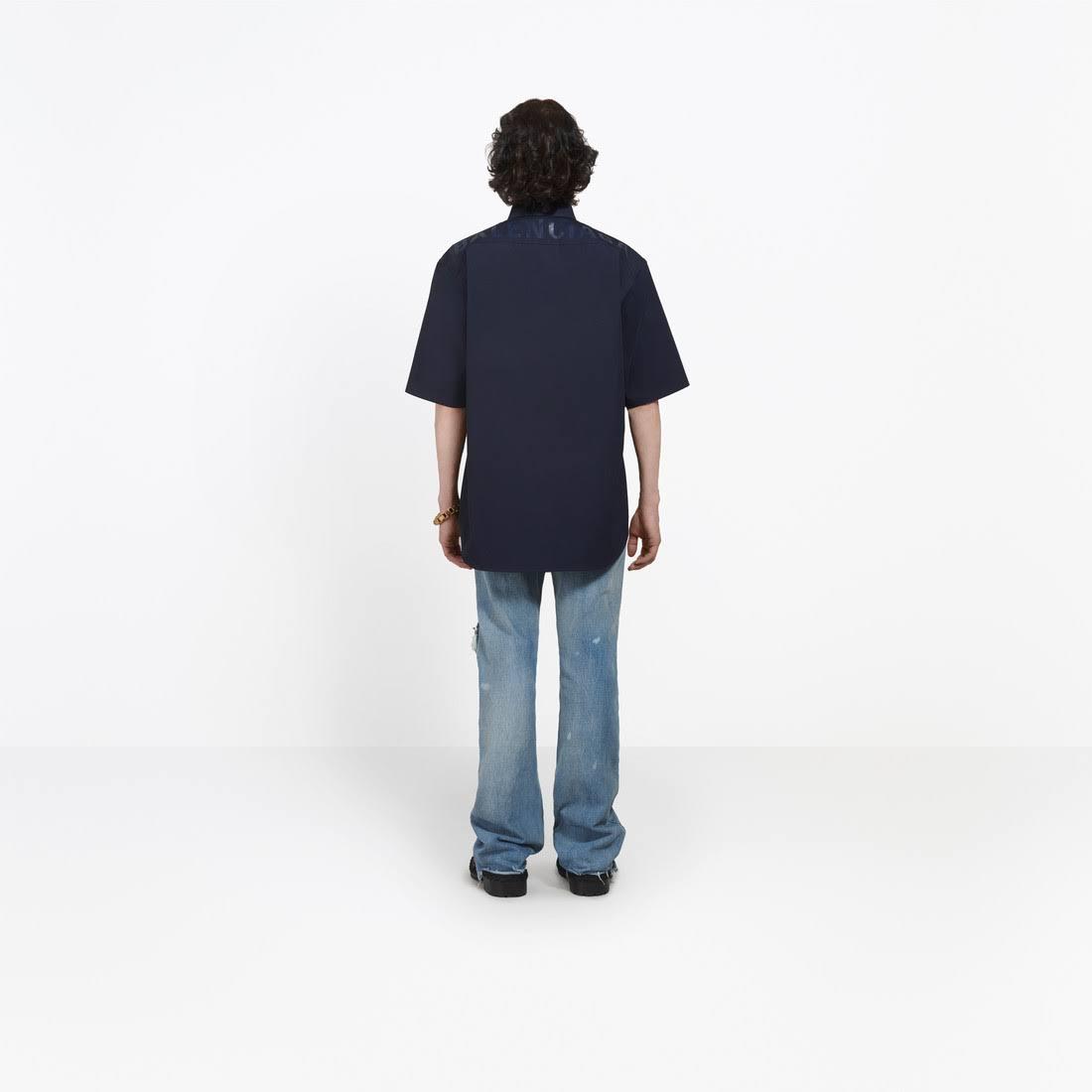 De Normal Con Algodón 14½ Logo Talla Camisa Marino Balenciaga Ajuste Azul Hombres n4qaExp