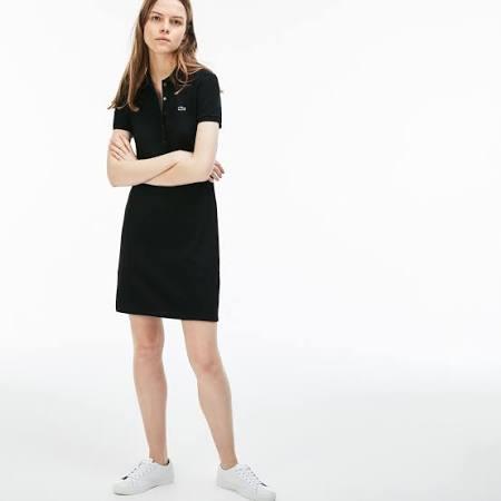 Algodón En Mini Lacoste Piqué Negro Stretch 42 Unicolor Vestido Polo De qggwYA