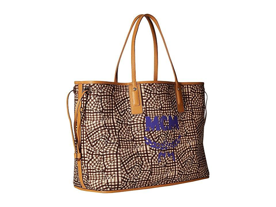 Mcm di Liz Reversible stoffa Borsa Large Shopper Cognac Visetos 2IED9WH