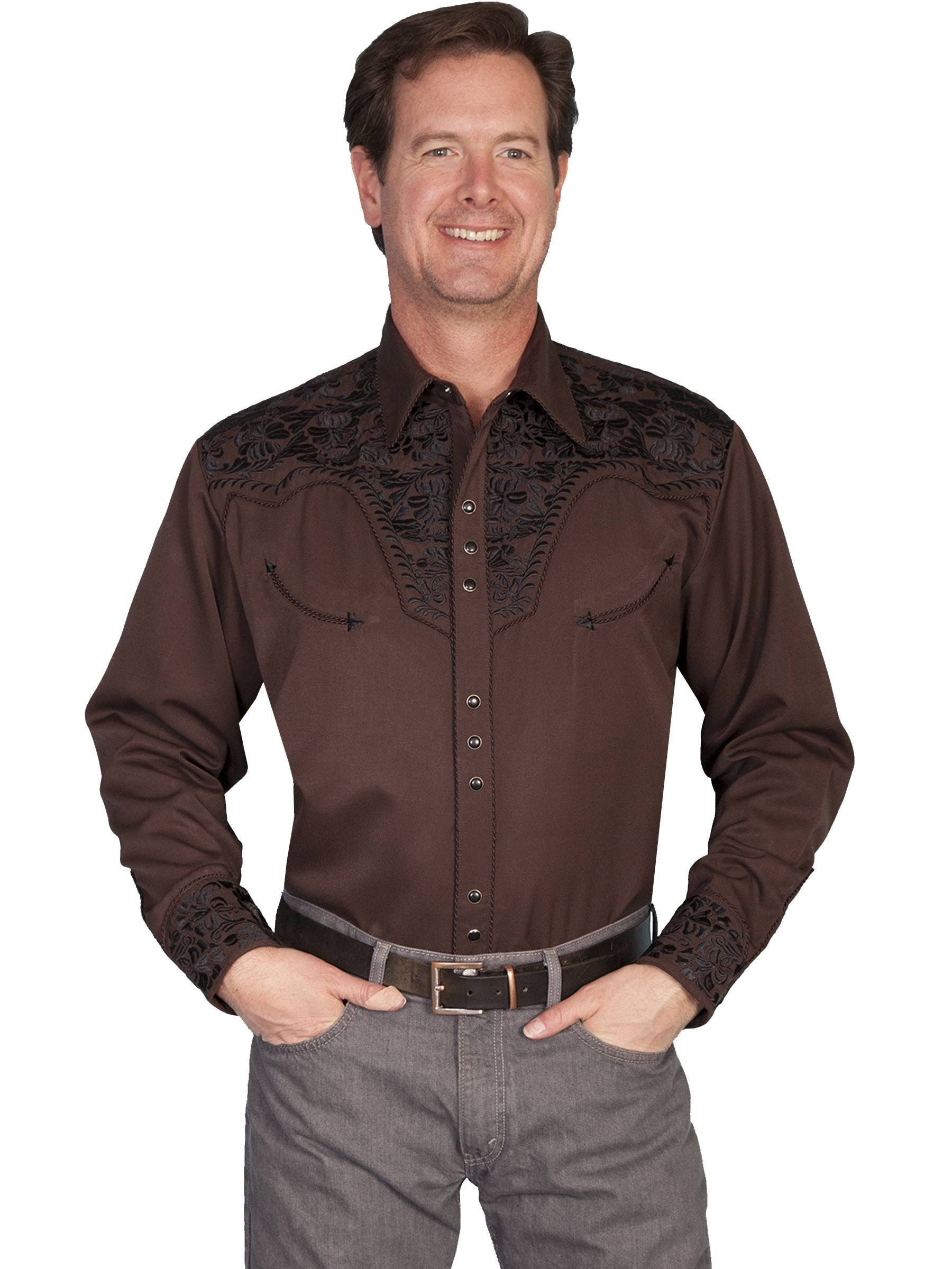 Western Hombre Chocolate P S L 634 Embroidered Snap Scully Camisa Para q5SUUH