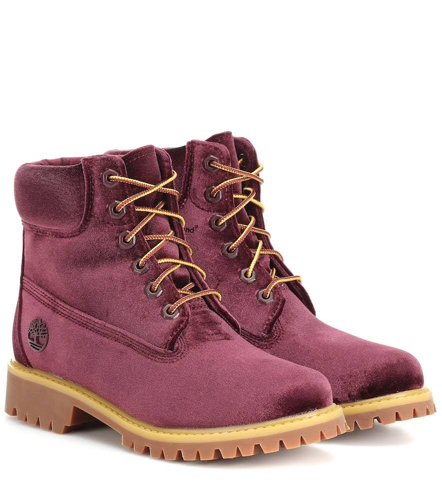 Burgundy Off Velvet White Timberland Boots In qXv1X4wx