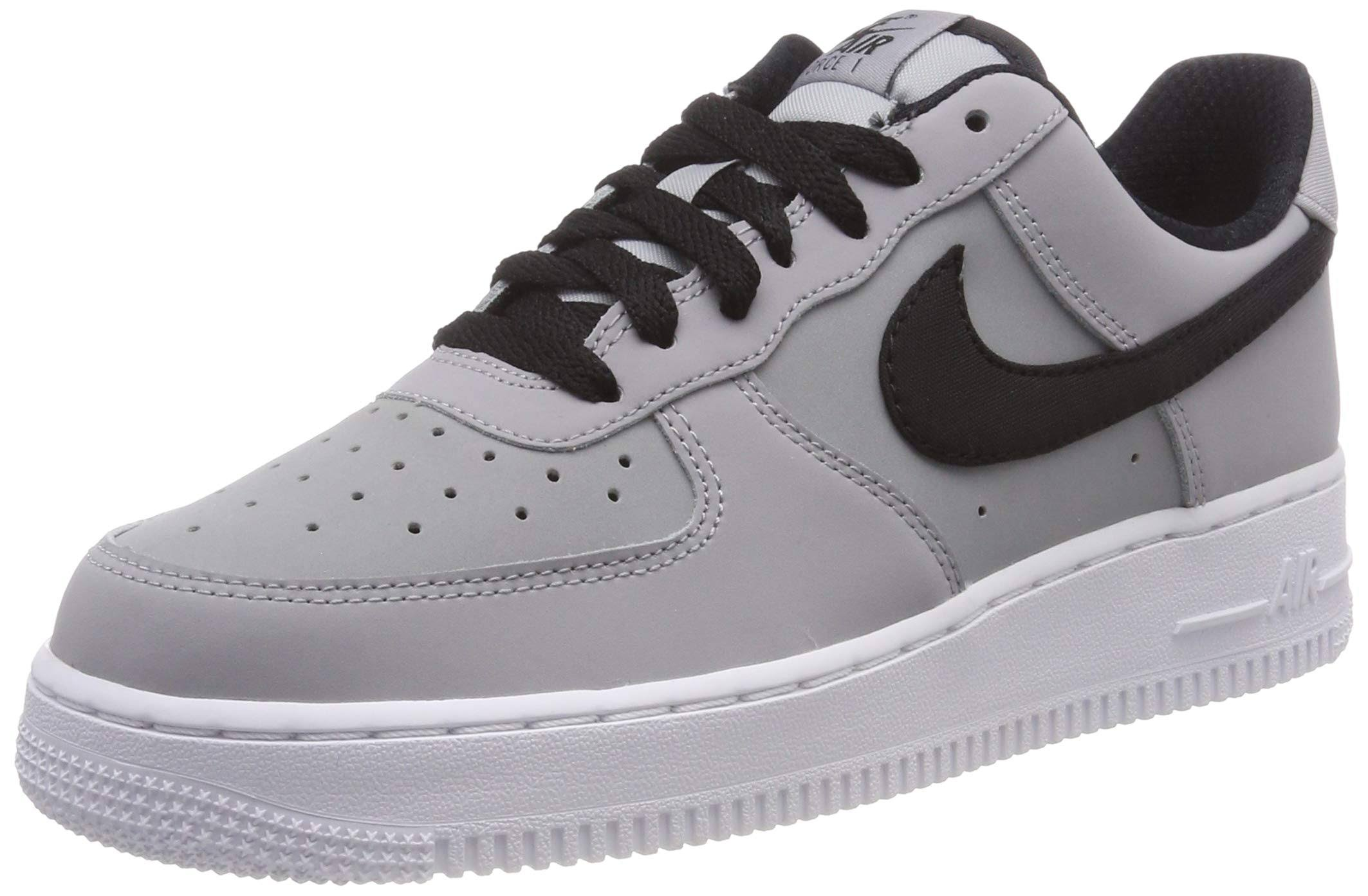 leer grijs zwart Nike Air Force 1 '07 OXZiuPkT