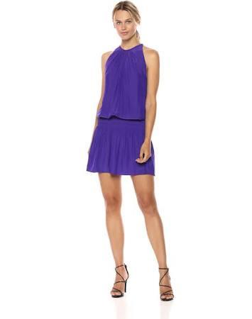 Paris Purple Ärmelloses Minikleid Royal Taille Elastischer Mit rr14wYx