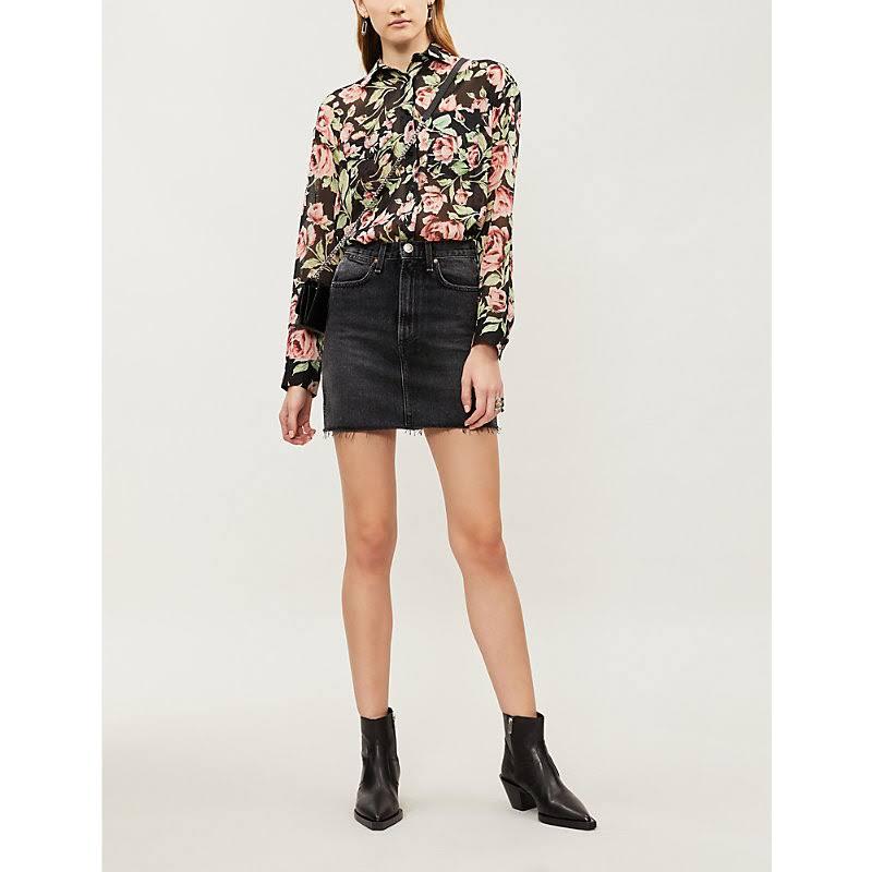 De Negro Con Rosa La Seda Camisa Estampado Kooples 7wq4x86