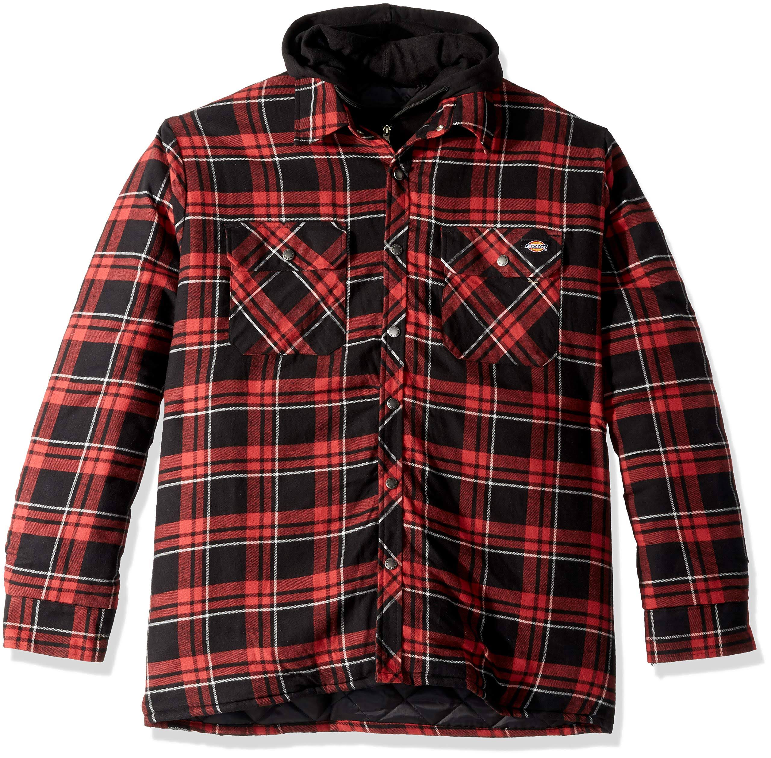 Para Capucha Y Plad Acolchada Holgada Hombre Con Gris Rojo Dickies Cane Chaqueta Camisa De I10qRww