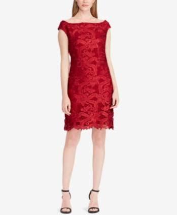 Vibrante Lauren Vestido Granate Floral De Ralph Encaje 12 1qUHxY