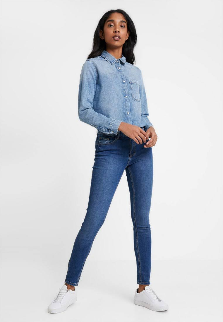Wini Pequeño Claro Blusa Denim Para Mujer Vintage Tamaño Claro Azul Buttondown American qzPw5P