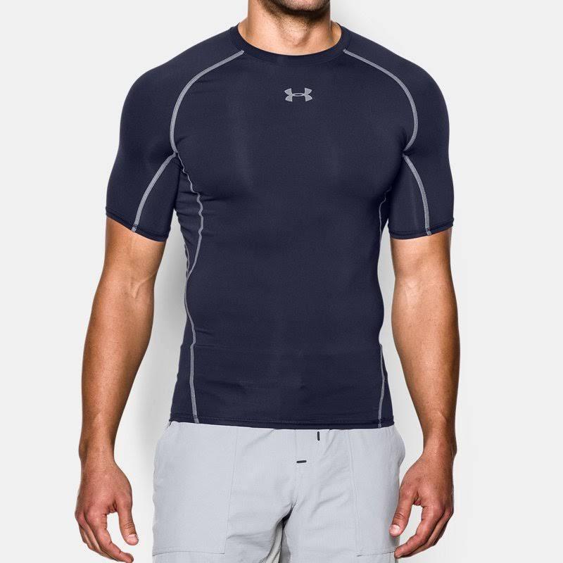 Corta Compresión De Armour S Elastano Camiseta Para Under Manga Azul Hombre Heatgear Marino Poliéster wtgdt5q