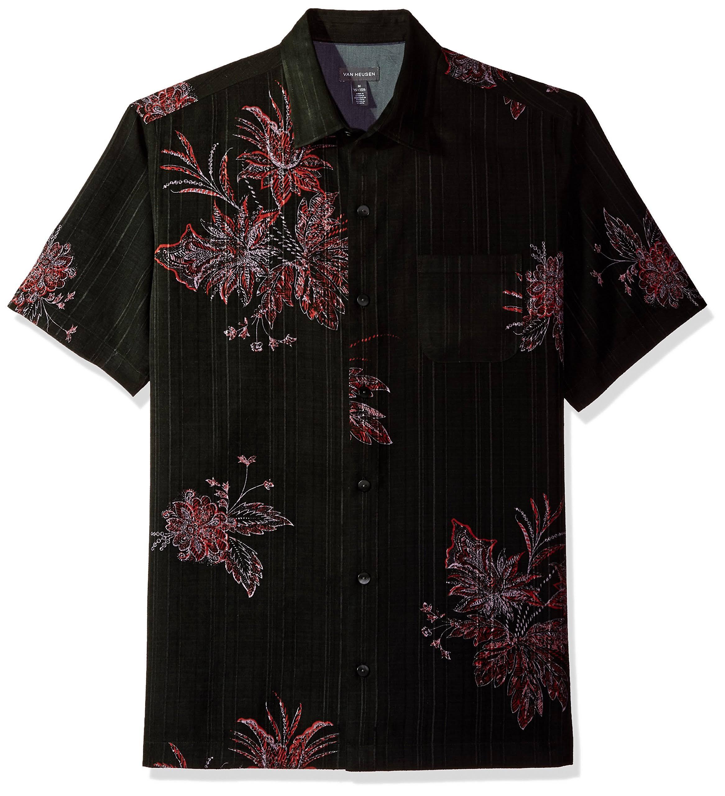 Camisa Hombre Heusen Negro Para Van Corta De Estampado Polinesio Manga Rojo Con r0xfzTr