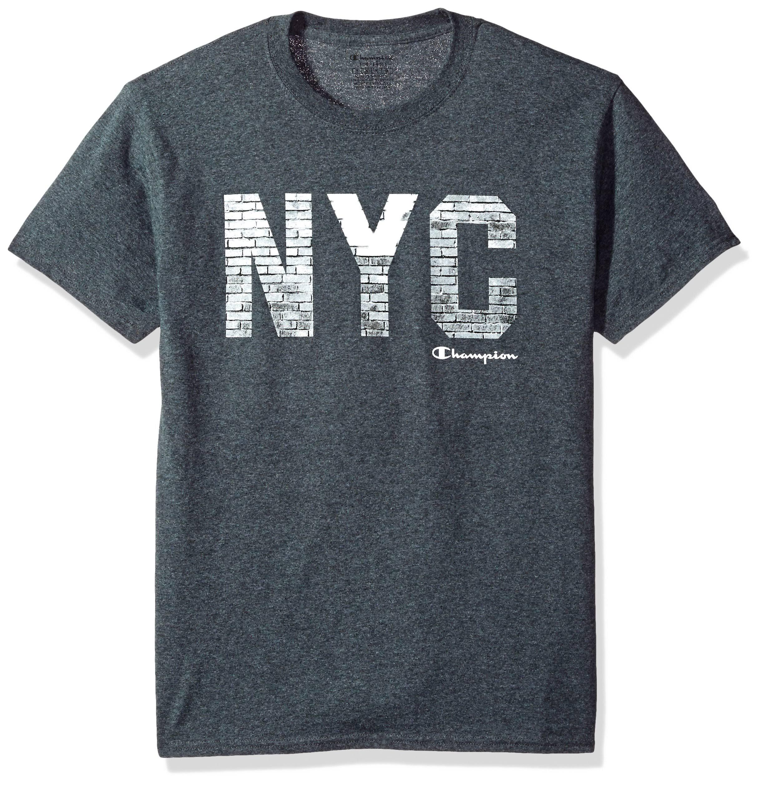 Classic Jersey City Champion Walls Heather Gráfico Camiseta Charcoal Mens p55qgZB