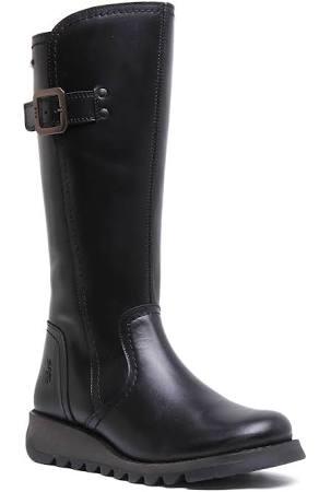 Fly London Shap Black Boots Leather Eu Rug Womens 38 AqqrxBdwv