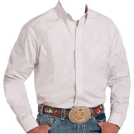 Blanco Shirt S Hombre Wh Botón 0025 Western 03 Sólido 0366 001 L Roper FwUq05On