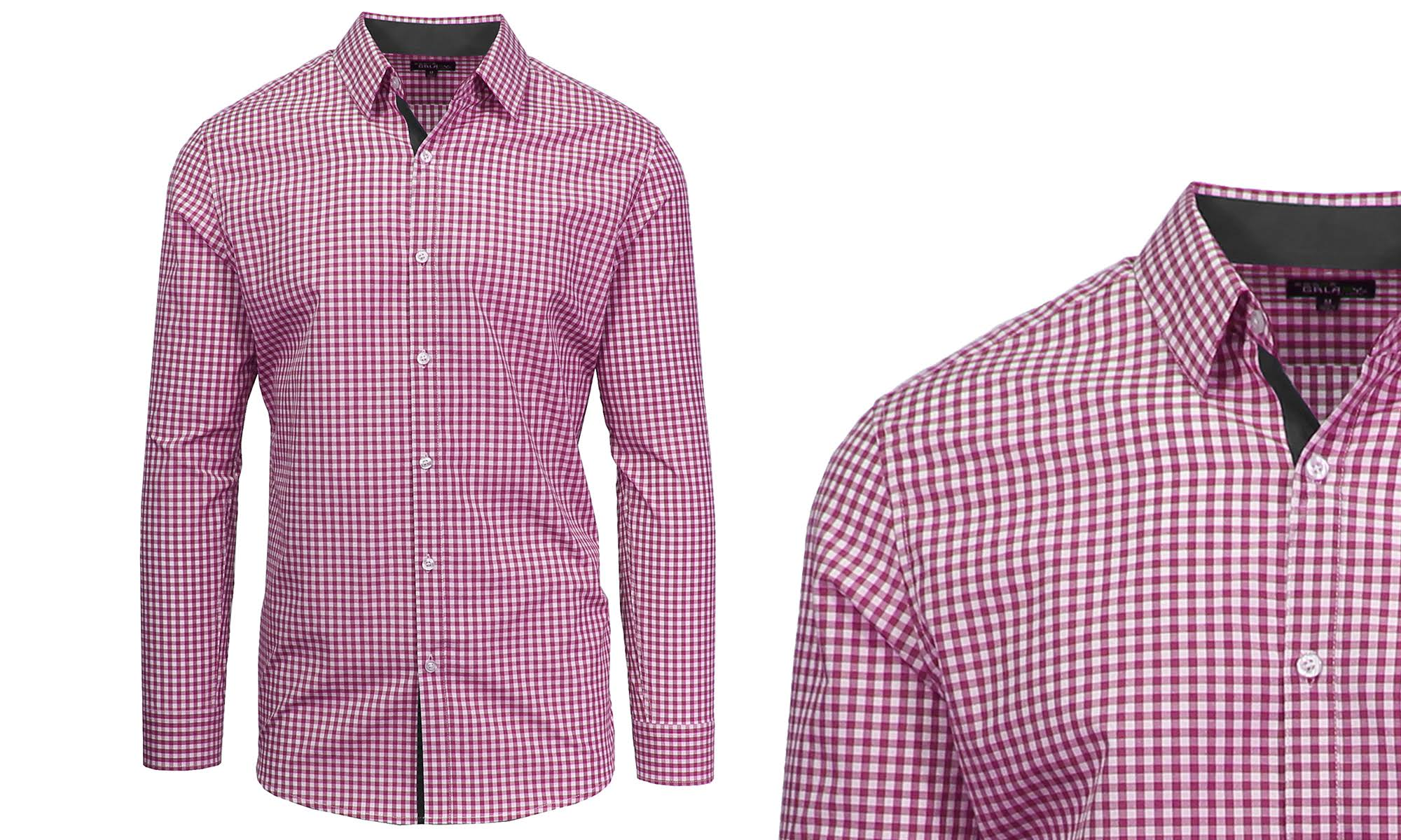 Checkered By Galaxy Langarm Slim Slim Herren Purple fit 2xl Cotton Freizeithemden Harvic 6zf5dqxw