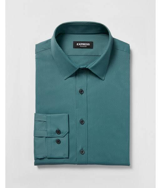 Dress Shirt Schlankes Besonders Men's S Blue Performance Faltenresistentes Solide wapqIX