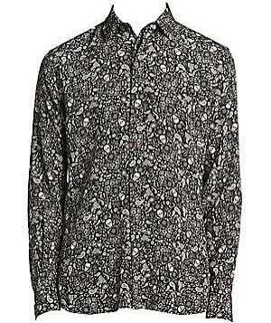 Laurent Negro 39 Hombre Para Gráfico Chine Camisa Seda Con De Saint Tamaño Crêpe wBxqP40