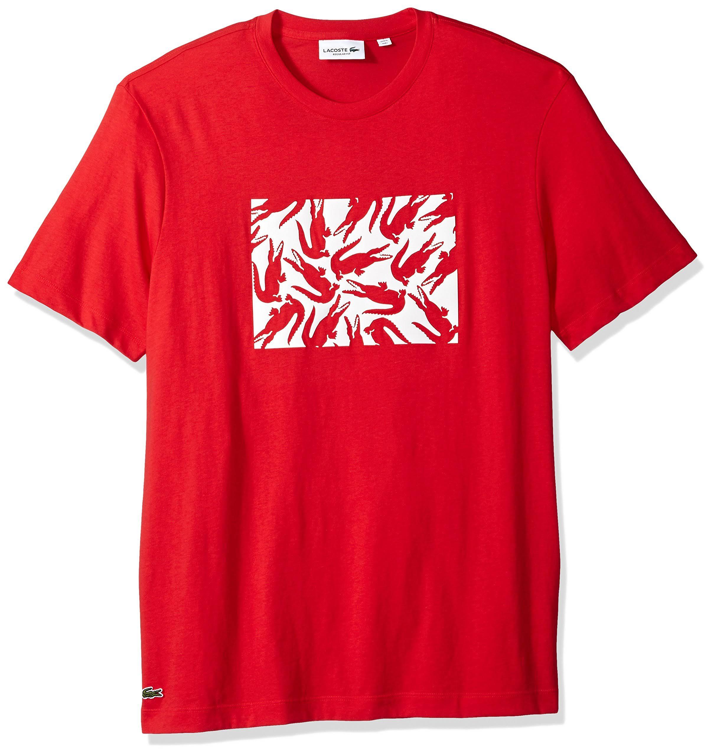 Diseño De Blanco Algodón Rojo Para Hombre Gráfico Lacoste Camiseta AEpxqRWA