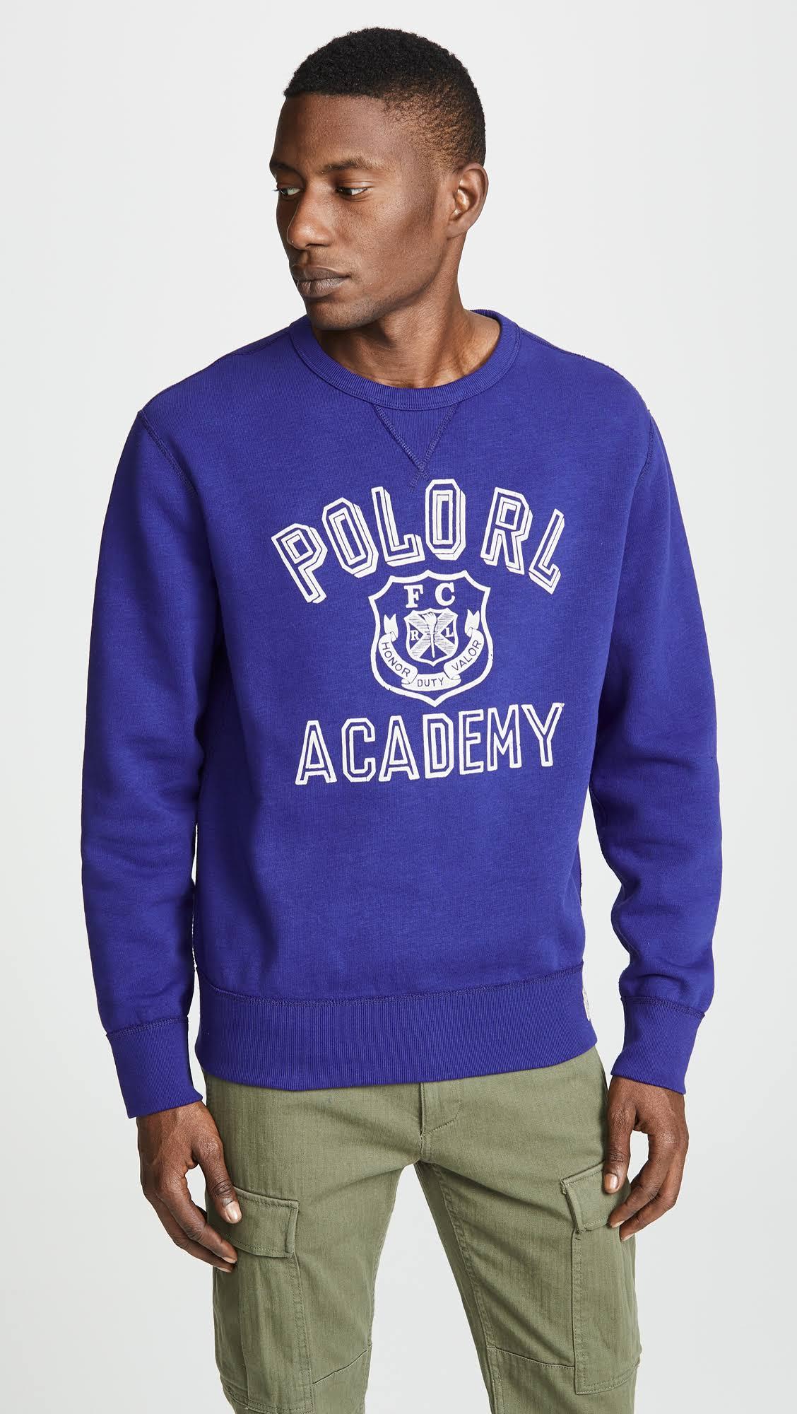 Größe Fleece Herren Sweatshirt Blau Lauren Ralph Graphic Polo S 6IqEz0wP