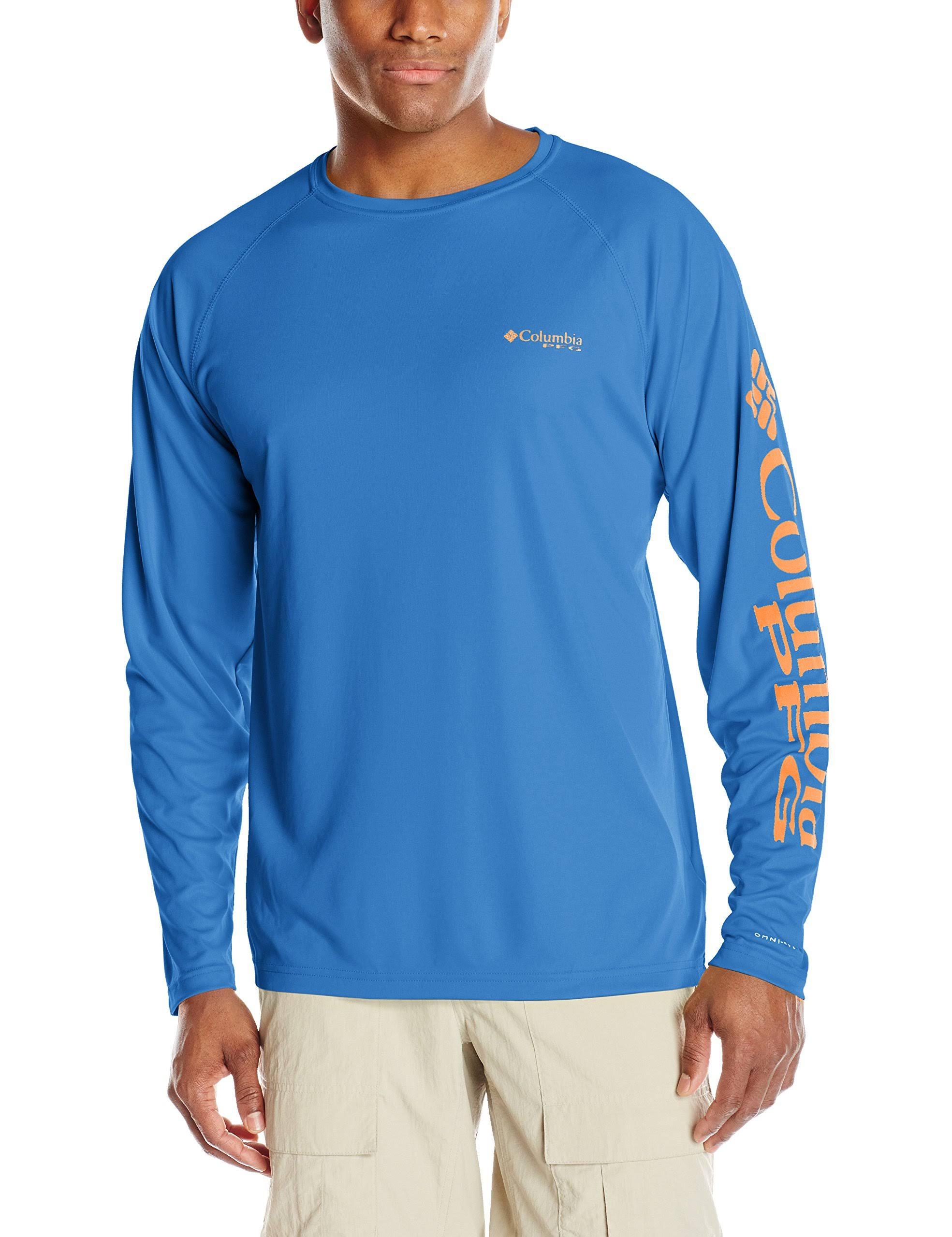 Herren Columbia Größe Large Langarmhemd Jupiter Terminal Blue Vivid Pfg Tackle BRdfRw